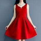 V-neck Open Back Sleeveless Dress 1596