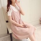 Maternity Set: Short-Sleeve T-Shirt + Strappy A-Line Dress 1596