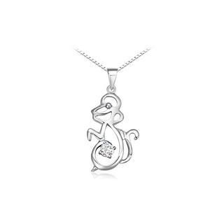 925 Sterling Silver Chinese Zodiac Signs Monkey Pendant with Silver Cubic Zircon and 40cm Necklace