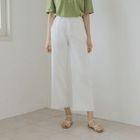 Band-Waist Wide-Leg Cotton Pants 1596