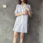 Striped Frill Trim Short Sleeve Dress 1596