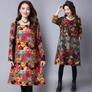 Floral Print Long-Sleeve Fleece-lined Dress 1055203695