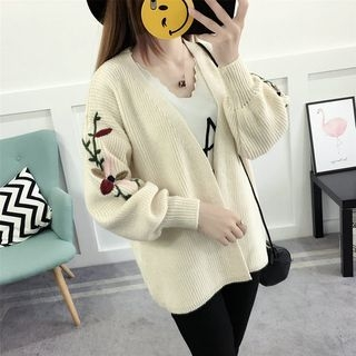 Flower Embroidered Ribbed Cardigan 1061757986