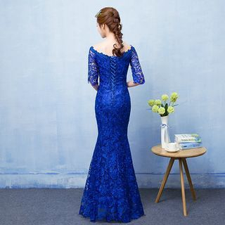 Elbow Sleeve Boat Neck Sheath Lace Cocktail Dress / Mermaid Evening Gown 1058184765