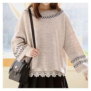 Drop-Shoulder Knit Top 1054849674
