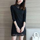 Long Sleeve High Neck Frilled Trim Lace Shift Dress 1596