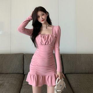 Square-neck Shirred Ruffle Hem Mini A-line Dress