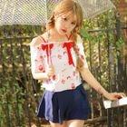 Set : Bikini Top + Floral Print Bow Top + Swim Skirt 1596