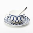 Set : Patterned Ceramic Cup + Plate 1596