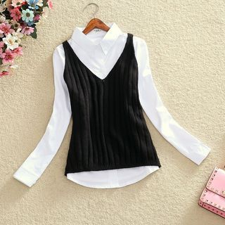 Knit Camisole Top / Long-Sleeve Shirt / Set: Knit Camisole Top + Long-Sleeve Shirt 1062493686