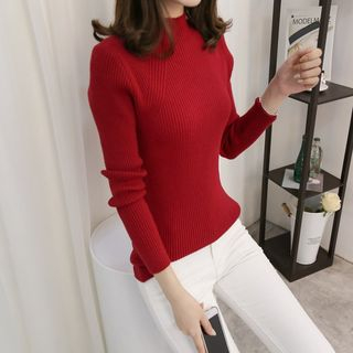 Long-Sleeve Mock-Neck Ribbed Sweater 1061965809