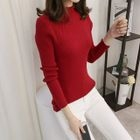 Long-Sleeve Mock-Neck Ribbed Sweater 1596