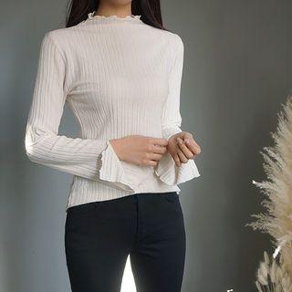Slit-Sleeve Frilled Knit Top 1064340268
