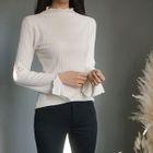 Slit-Sleeve Frilled Knit Top 1596