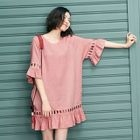 Short-Sleeve Cutout Ruffled Dress 1596