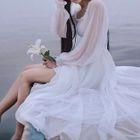 Plain Chiffon Long-Sleeve Dress 1596