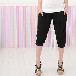 Picture of 59 Seconds Elastic-Waist Cropped Pants Black - One Size 1022806945 (Womens Cropped Pants, 59 Seconds Pants, Hong Kong Pants)