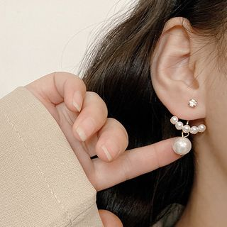 Image of Asymmetric Ear Stud 1 Pair - E1736 - Gold - One Size