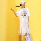 Sequined Short-Sleeve Mesh Hem T-Shirt Dress 1596