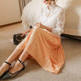 Band-Waist Pleated Long Skirt 1064417620