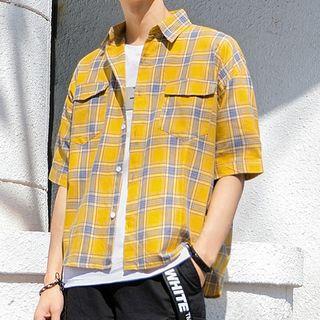 Image of Elbow Sleeve Plaid Double Flap Pocket Shirt