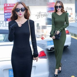 V-Neck Maxi Rib Knit Dress 1062075110
