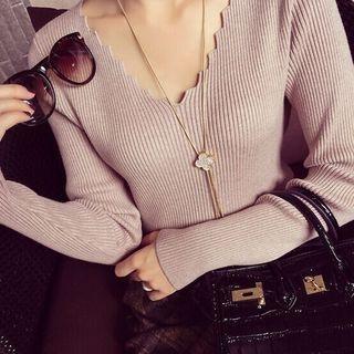 V-Neck Ribbed Knit Top 1053211768