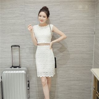 Set: Lace Top + Lace Pencil-Cut Skirt 1050641161