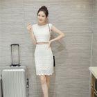 Set: Lace Top + Lace Pencil-Cut Skirt 1596