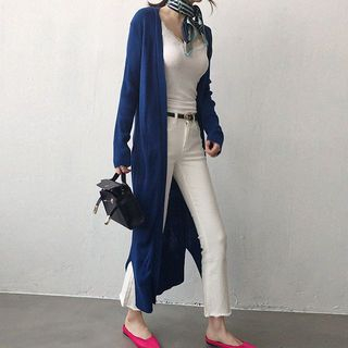Ribbed Open-Front Long Cardigan 1065392989