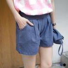 Pleated Denim Shorts 1596