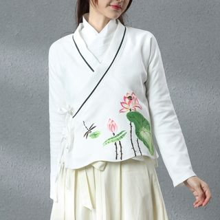 Chinese Floral Print Long-Sleeve Jacket