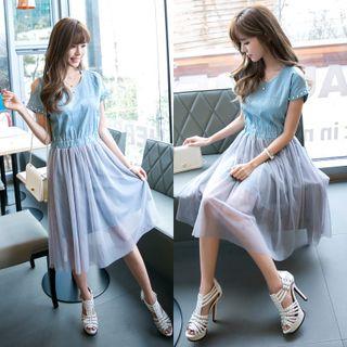 Short-Sleeve Denim Panel Mesh Dress