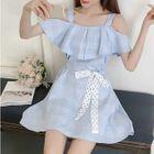 Plaid Cutout Shoulder Mini Dress 1596