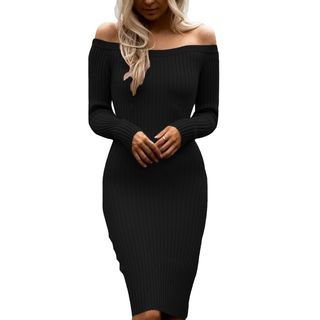 Off-Shoulder Ribbed Bodycon Dress 1057135266