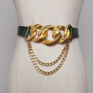 Image of Chunky Chain Layered Genuine Leather Belt