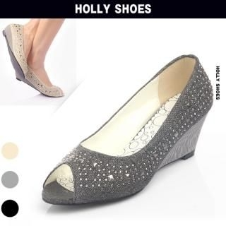 Buy Holly Shoes Open-Toe Studded Wedge Pumps (2 Designs) 1022594728