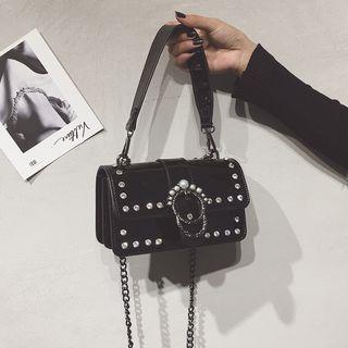 Patent Jeweled Crossbody Bag