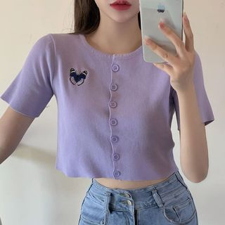 Image of Butterfly Embroidered Short-Sleeve Knit Top