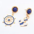 Anchor and Rudder Non-Matching Drop Earrings 1596