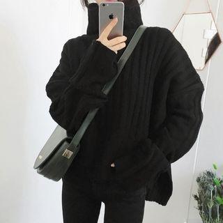 Turtleneck Ribbed Side Slit Sweater 1063281677