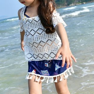 Kids Set: Patterned Tankini Top + Swimskirt + Cover-Up 1064978117