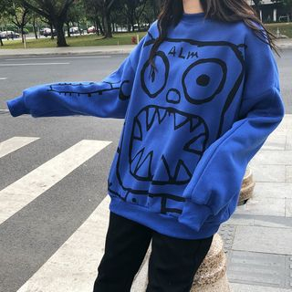 Image of Cartoon Printed Fleece-Lined Sweatshirt