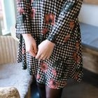 Floral Gingham Pattern A-Line Dress 1596