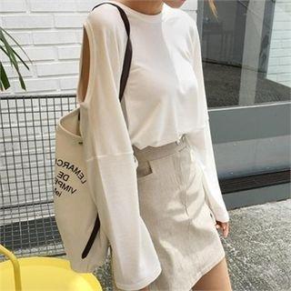 Cutaway-Shoulder Long-Sleeve Top 1052678359