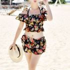 Set: Floral Print Bikini + Cover-Up + Shorts 1596