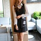 Set: Striped Shirt + Applique Pinafore Dress 1596