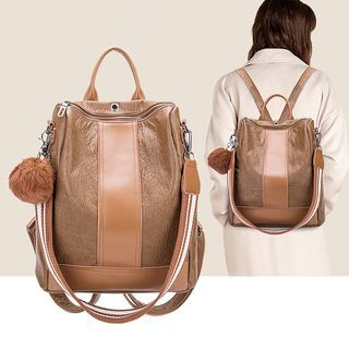 Panel Genuine Leather Backpack
