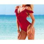 Cutout Shoulder Ruffle Swimsuit 1596