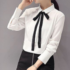 Set : Ribbon Long-Sleeve Chiffon Blouse + Faux Suede Skirt 1596